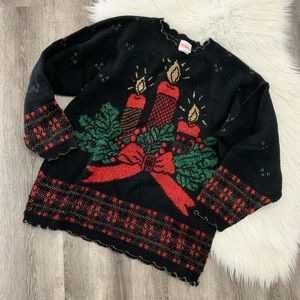 Sweaters - Vintage Christmas candle sweater Golden accents